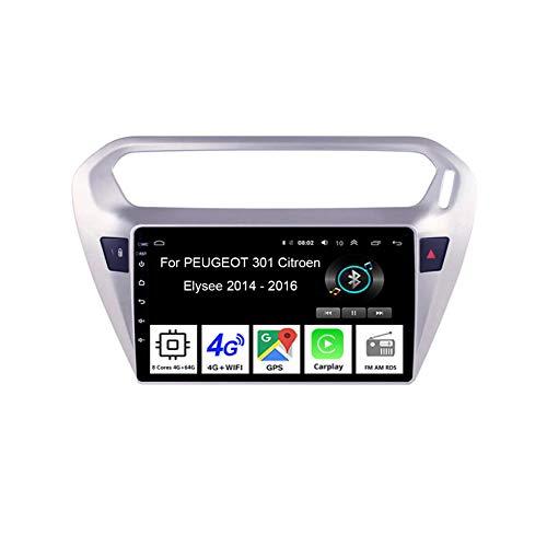 Android 10 Car Stereo 9 Pulgadas Pantalla Táctil Navegación GPS para Peugeot 310 2013-2016 con Pantalla Coche Conecta Y Reproduce Bluetooth Multimedia Video SWC cámara Trasera,8 Cores 4G+64G