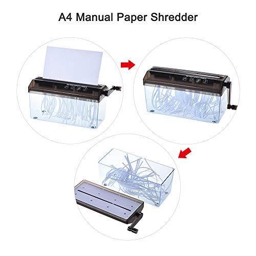 Aibecy dechiqueteuse papier A4 Manuelle Déchiqueteuse de papier shredder papier Destructeur de Documents coupe droite Noir