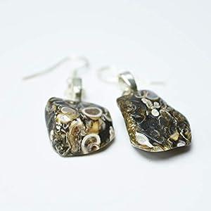 Custom Tumbled Turritella Stone Dangling Earrings