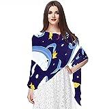 WJJSXKA Bufandas para mujer Bufandas ligeras de moda Estampado floral Patrón Bufanda Chal Wraps, Peces de mar animal acuario dibujos animados vida marina