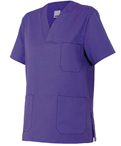 Velilla 589/C26/T12 Camisola pijama de manga corta con escote en pico, Morado, 12