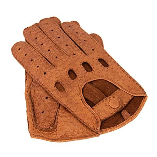 WEIKERT-HANDSCHUHE - Exklusive Auto Lederhandschuhe aus Peccary, ungefüttert, Autofahrerhandschuhe mit Finger, handgenäht,Lederhandschuhe Pekari, Motorradhandschuhe, Herren und Damen (9,5, Camel)