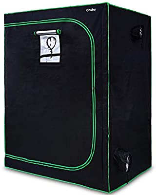 """Ohuhu 48""""x 24""""x 60"""" Mylar Hydroponic Grow Tent with Observation Window, Floor Tray & Tool Bag, 2'x4' Plant Growing Tent with Durable 600D Oxford Cover for Indoor Plant Growing, Gardening & Germination"""