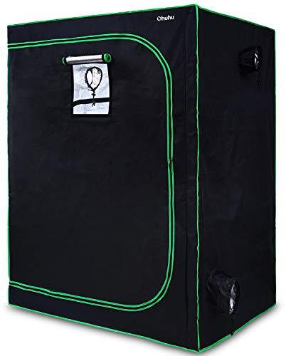 "Ohuhu 48""x 24""x 60"" Mylar Hydroponic Grow Tent with Observation Window, Floor Tray & Tool Bag, 2'x4' Plant Growing Tent with Durable 600D Oxford Cover for Indoor Plant Growing, Gardening & Germination"