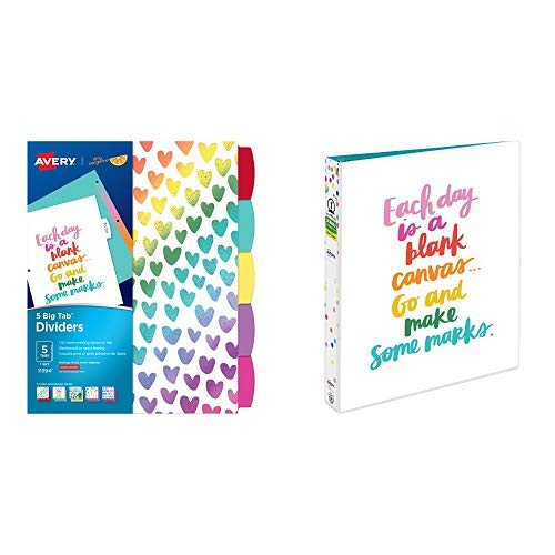 """Avery + Amy Tangerine Designer Collection Big Tab Dividers, Rainbow Vibes, 5-Tab Set (11394) AND Avery + Amy Tangerine Designer Collection Binder, 1"""" Round Rings, 175-Sheet Capacity, Blank Canvas"""