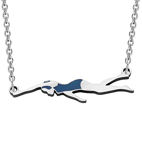 FEELMEM Swimming Gift Necklace Swimmer Pendant Charm Necklace Girls Swimming Jewelry Swim Team Swimmer Necklace Gift for Swimming Lover (Swimmer)