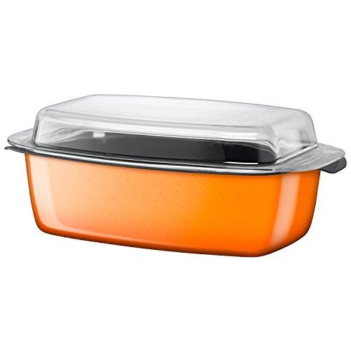 Silit Passion Rôtissoire orange ,avec couvercle en verre 32 x 21 x 15 cm , Céramique fonctionnelle Silargan, pour induction, à four, modèle discontinué, orange, 5,3 L