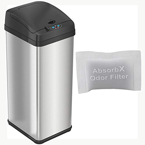 iTouchless Automatic 13 Gallon Touchless Sensor AbsorbX Odor Control System, Stainless Steel, Extra-Wide Lid Opening Kitchen Garbage Bin, Silver, Brushed trash can