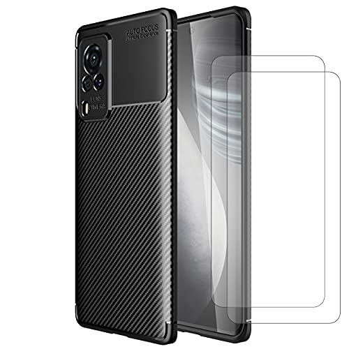 Vivo X60 Pro Coque + [2 Pièces] Verre trempé, Weideworld Silicone Ultra Mince Flexible Souple TPU Protection Bumper Solide Anti-Choc Etui, Noir