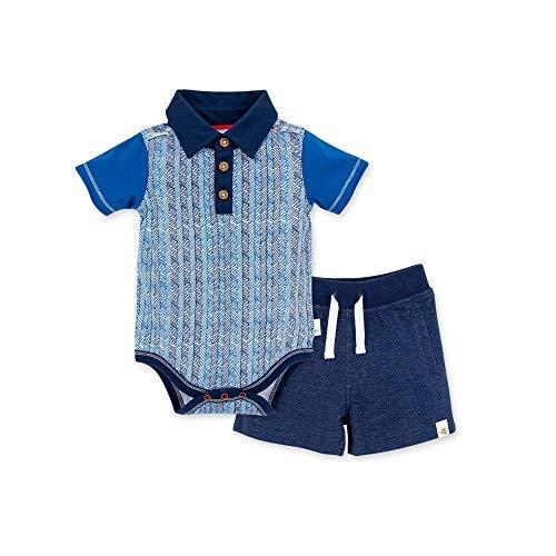 Burt's Bees Baby Unisex Baby Bodysuit & Pant Set, 100% Organic Cotton, Chevron Sticks Polo & Shorts, 0-3 Months