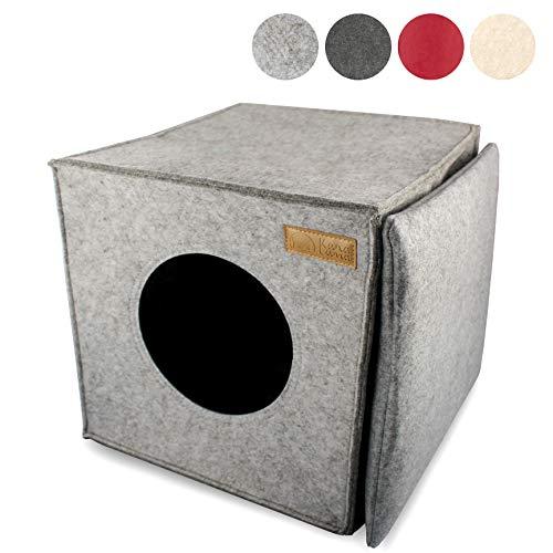 KaraLuna Katzenhöhle I Kuscheliger Rückzugsort und Katzenbett I aus Hochwertigem Filz I Passend für IKEA Kallax oder Expedit I Schlafplatz (Hellgrau)