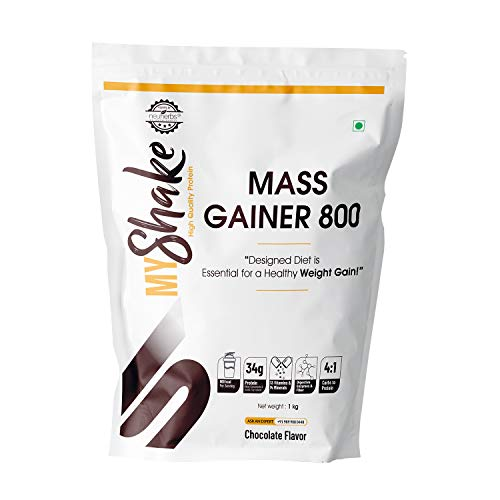 Myshake Mass Gainer 800 - Weight Gain with Protein, Fibers & Vitamins | 34 grams of protein, 136 g of Carbs | - 1 KG (Chocolate Flavour)