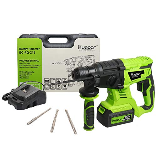 Huepar 20V Brushless Cordless SDS-Plus Rotary Hammer Drill, 3 Modes Hammer Drills for Concrete with Variable Speed and Adjustable Handle, EC-FQ-218 (Lithium-Ion Battery, Charger and 3 Bits Included)
