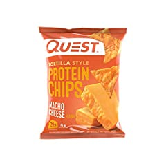 18g of Protein and 4g of Net Carbs Baked - never fried; Made with high-quality Whey and Milk Protein Isolates No added soy ingredients Gluten Free Includes 12 bags of Quest Nacho Tortilla Protein Chips