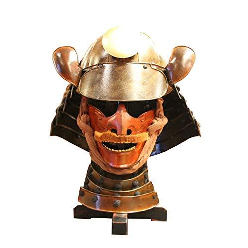 TnSok Yelmo de Armadura de Caballero Medieval Guerreros De La Armadura De Metal Japonés De Los Estados Guerreros Samurai Casco Personalidad Turística Adornos Brown (Color : Brown, Size : 36x33x61cm)