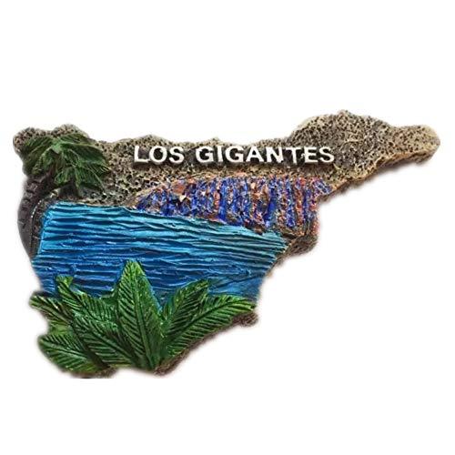 Weekinglo Souvenir Imán de Nevera Los Gigantes Tenerife España Resina 3D Artesanía Hecha A Mano Turista Viaje Ciudad Recuerdo Colección Carta Refrigerador Etiqueta