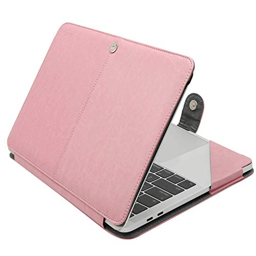 MOSISO Case Compatible with 2020-2018 MacBook Air 13 A2179 A1932/2020-2016 MacBook Pro 13 A2251/A2289/A2159/A1989/A1706/A1708, Premium PU Leather Folio Protective Stand Cover Sleeve, Rose Quartz
