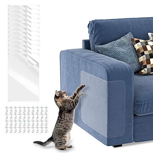 12PCS Sofá Anti-arañazos,Protectores de Sofá para Muebles Tapizados,Protector de arañazos Para Gatos,Gatos Anti-arañazos,Protector de Muebles para Gatos, Protector de Muebles Antiarañazos