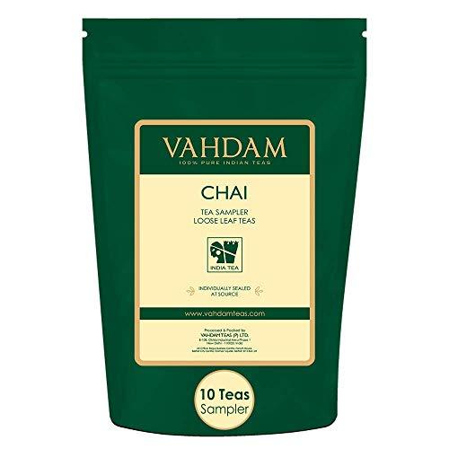 VAHDAM, Muestra de Té Chai - 10 TEAS, 50 Porciones |