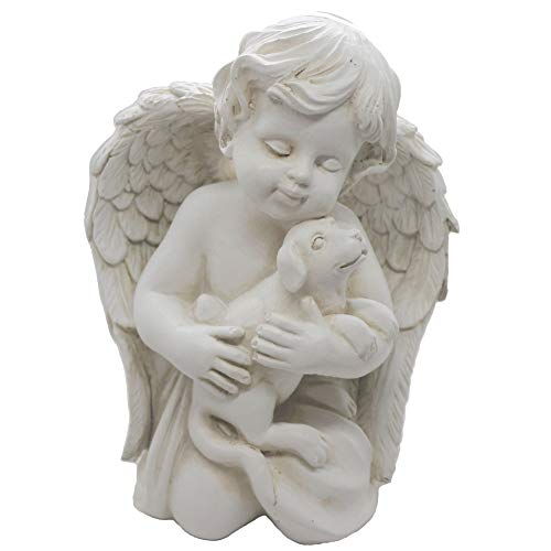 Engel mit Hund Statue Haustier Hund Gedenkstatue Statue Indoor Outdoor Home Garden Guardian Rememberance Dog Puppy Figur 17,8 cm