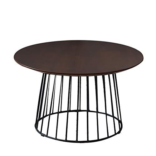 ZWJLIZI Mesa de Centro Redonda, pequeña Mesa de Hierro del hogar del Arte del café, Roble Mesa de sofá Lado de la luz (Nogal Superficie de la Mesa) (Size : 60X60X35CM)