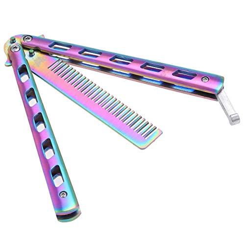 Minkissy Acier Inoxydable Cheveux Peigne Papillon Peigne Pliable Peigne Pratique Débutant Formation- Métal Peigne Hommes Oil Hair Styling Accessoires (Coloré)