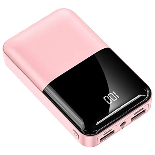 HJKPM 20000Mah Portable Power Bank, Mini Compact Digital Display External Battery with Piano Mirror Paint Process And Half Screen Design,Pink