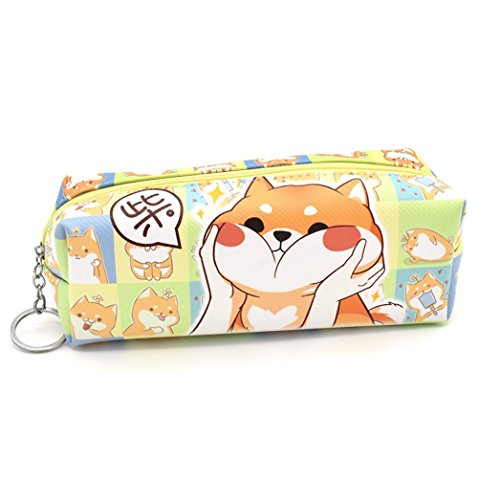 1 Pcs Kawaii Puppy Dog Shiba Inu Pu Leather Pencil Case Cute Cartoon Zipper Pen Storage Bag Students Stationery School Supplies Pencil Box Holder Coin Organizer Gift for Kids Girls Boys