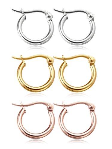 Jstyle 3 Pairs Stainless Steel Hoop Earrings for Women Huggie 10MM-20MM