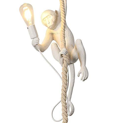 Vintage Pendelleuchte Kreativ Affenlampe Hängend mit Seil Monkey Lamp Landhausstil Retro Industrielampe Höhenverstellbar Hängeleuchte für Esszimmer Wohnzimmer Restaurant Schlafzimmer,Weiß