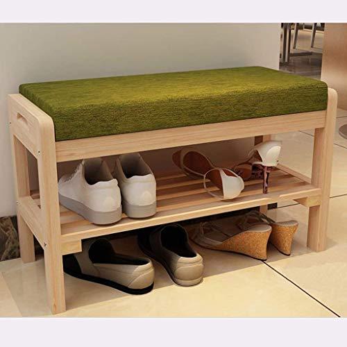 HEMFV Simplifique el banco de almacenamiento, Bastidor de zapatos Gabinete de repuesto Bastidor de zapatos de almacenamiento de madera maciza con cojín de asiento for pasillo Entrada de dormitorio Ban