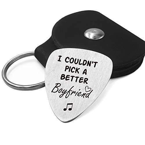 Best Boyfriend Guitar Pick Gifts for Him Men - Love Quotes Stainless Steel Guitar Pick with Guitar Pick Holder Case - Musician Gift Ideas for Graduation Birthday Valentines Christmas Gifts
