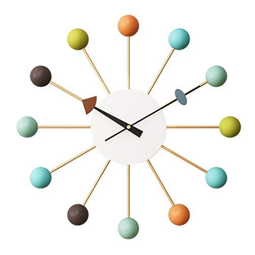 LiRuiPengBJ Relojes de Pared Reloj de Pared Nelson Mid Century Sin Tictac Mudo Color Caramelo Simple Bola Reloj Redondo Sala de Estar Comedor Dormitorio Decoracion Pared