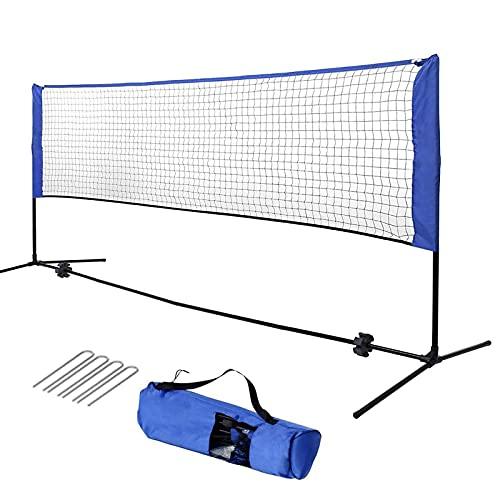 Badmintonnetz 4.2/5.1m Tennisnetz Volleyball Netz tragbar & höhenverstellbar 87-155 cm, Set enthält Mehrzwecknetz, Transporttasche, soliden Eisenrahmen und 4 Befestigungsnägeln (blau, 420)