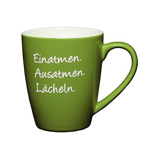LePaJo Glückstasse Grün: Einatmen Ausatmen Lächeln. Teetasse, Geschenk Tasse, Kaffeetasse mit Sprüchen