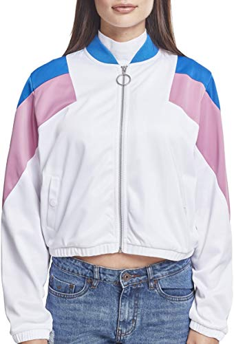 Urban Classics Damen Ladies 3-Tone Track Jacket Jacke, Mehrfarbig (Wht/Brightblue/Cool Pink 01468), Medium