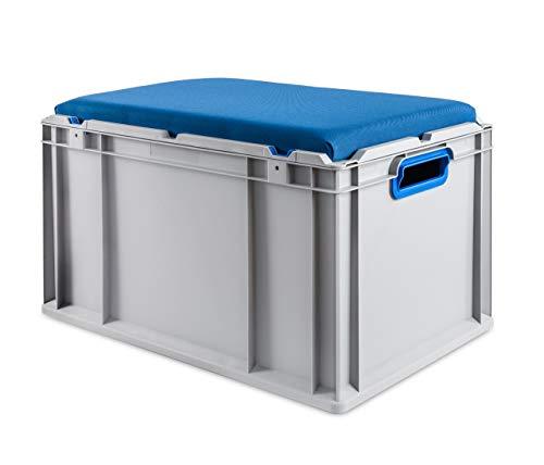 aidB Eurobox NextGen Seat Box, blau, (600x400x365 mm), Griffe offen, Sitzbox mit Stauraum und abnehmbarem Kissen, 1St.
