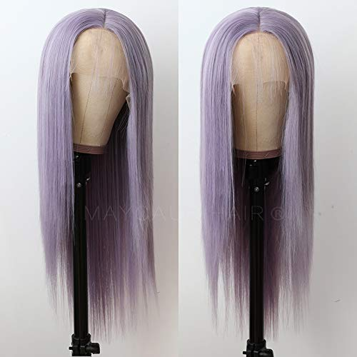Maycaur Lace Front Wigs Long Straight Hair Purple Color Wigs for Fahison Women Light Purple Synthetic Lace Front Wigs with Natural Baby Hair 20 Inch