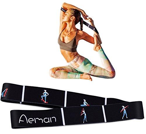 Aeman Fitness Stretch Band mit Schlaufen - Elastikband Übungsband für Yoga, Physiotherapie, Reha, Pilates - Gymnastik Trainingsbänder für Männer & Frauen (Schwarz)