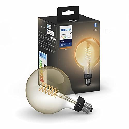 Philips Hue White Filament G125, Lampadina LED Smart a Filamento, con Bluetooth, Attacco E27, Luce Calda, Atmosfera Vintage