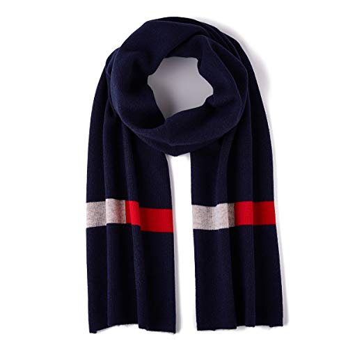 GENTIGER Merino Wool Winter Scarf Light Soft Warm Long Cold Weather Scarf, Navy