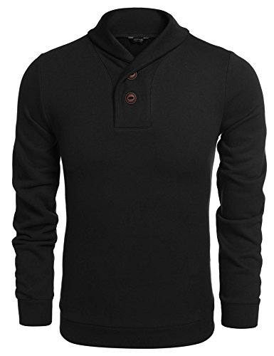 COOFANDY Men's Casual Shawl Collar Sweater Long Sleeve Pullover, XX-Large, Black