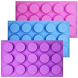 SENHAI 3 moldes cilíndricos de silicona de 15 agujeros para hacer chocolate, dulces, jabón, magdalenas, brownie, pasteles, pudín, galletas, morado, azul, rosa