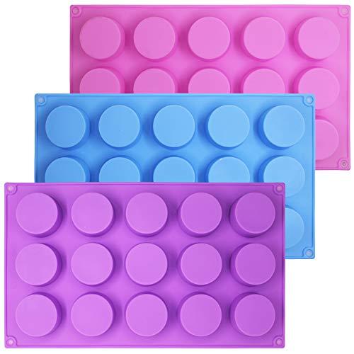 Senhai Silikonformen mit 15 Formen, zylindrisch, für Schokolade, Süßigkeiten, Seife, Muffins, Cupcakes, Brownies, Kuchen, Pudding, Kekse – Lila, Blau, Rosa, 3 Stück