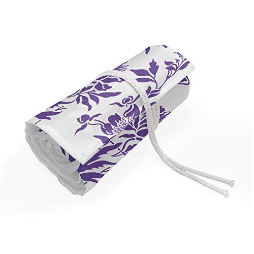ABAKUHAUS Blumen Mäppchen Rollenhalter, Pulsiert die Saison Pflanzen, langlebig und tragbar Segeltuch Stiftablage Organizer, 72 Schlaufen, Violett und Weiß