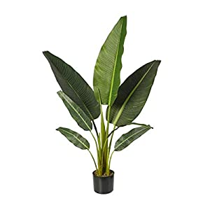 YEQ-3.9Ft Artificial Banana Tree Decorative Plants in Pot, Artificial Tropical Faux Plant for Indoor Outdoor Garden Home Decor