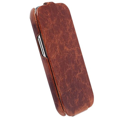 Krusell 75543 Tumba SlimCover Premium Leather Flip Case for Samsung Galaxy S3 - Carrying Case - Retail Packaging - Vintage Brown