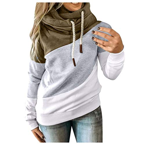 Women's Fashion Contrast Color Splicing Hoodie Pile Tie Drawstring Casual Sports Sweater Long Sleeve Sweaters Tops Shirts Army Green
