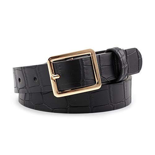 Frauen Gürtel Schwarz Braun Leder Taillengürtel Gold-Schnalle Gürtel Damen 0121 (Belt Length : 105cmX2.3cm, Color : Black)