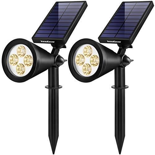 InnoGear Solar Lights Outdoor, Upgraded Waterproof Solar Powered Landscape Spotlights 2-in-1 Wall Light Decorative Lighting Auto On/Off for Pathway Garden Patio Yard Driveway Pool, Pack of 2 (Warm)